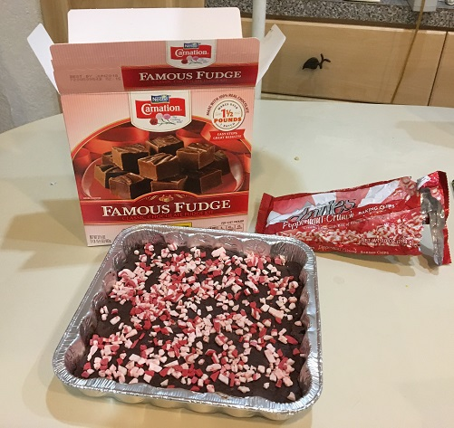 Carmation fudge with Andes peppermint baking chips